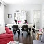 dining rooms - pink blue gray white dining table crystal chandelier white buffet hutch cabinet pink chair blue velvet sofa butterfly ottoman blue gray walls living room Gus Modern Thompson Chair