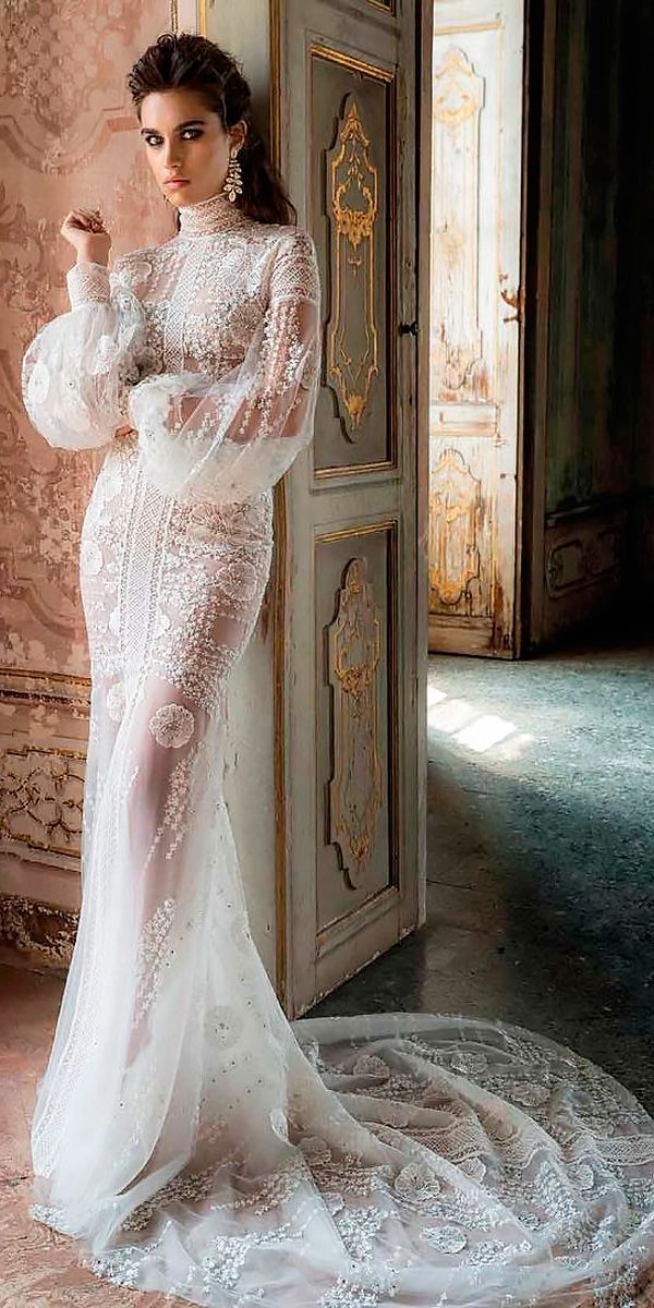 72d40a4aad0 revealing wedding dresses modern sheath lace long sleeves high neckline with  train jaton couture