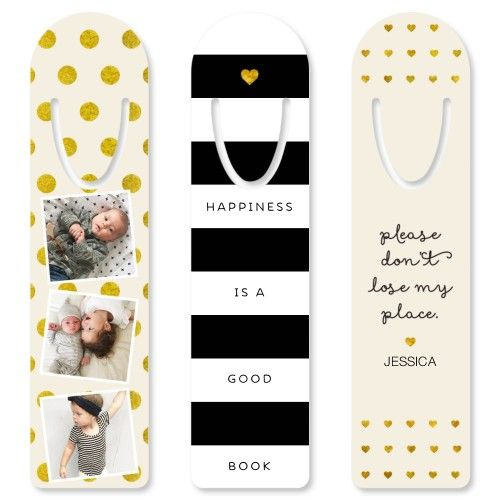 Dots and Stripes Set Custom Bookmark, Set of 3, DynamicColor