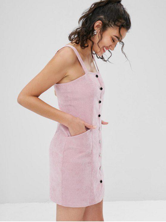 de8b87c976ac Pockets Button Front Corduroy Pinafore Dress - LIGHT PINK M | buttoned  dresses in 2019 | Corduroy pinafore dress, Dresses, White mini dress