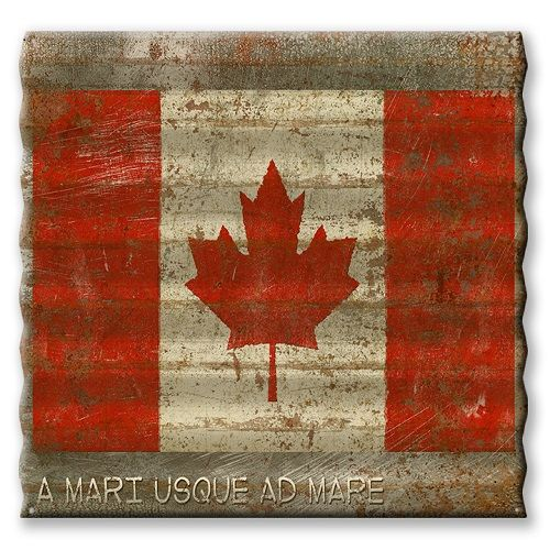 """Show your allegiance with our cool, retro style Canadian flag. Printed directly on corrugated metal in a """"distressed"""" fashion that makes it appear to be reclaimed from the side of an old roadside barn. Comes with four pre-punched holes in corners for easy hanging. At over two feet wide, it's sure to make a favorable impression with all your non-Canadian friends and visitors as well. Available in all 50 US states and select foreign countries.    Please Note: This Item May Take 3-4Weeks…"""