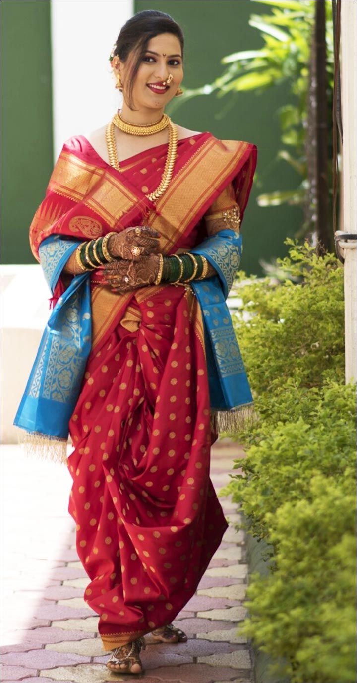 Maharashtrian Bride in a Nine Yard Saree Draped Nauvari Style