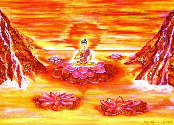 De Intuïtieve Kunst van Rika Dehombreux: Intuïtief Schilderen: Weerspiegelingen van een Boeddha en de Lotusbloem