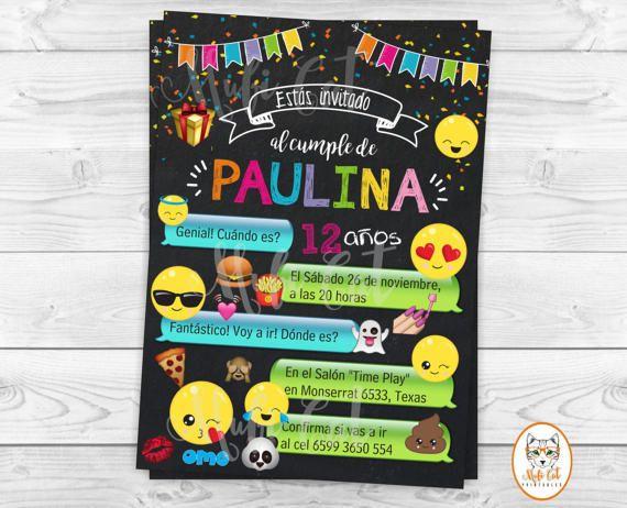 Invitación cumpleaños Emoji, Niña Emoji invitación imprimible, Emoji fiesta, invitación de cumpleaños de Emoji de niño, Teen Party, Whatsapp  ¡Bienvenido a la Tienda MufiCat Printables!  Este artículo es un archivo digital imprimible en formato jpg (de alta resolución a 300 dpi) puedes imprimir en tu casa, enviar por correo electrónico a amigos y familiares, imprimir en un local de impresión o laboratorio fotográfico. El tamaño de la invitación es de 5x 7 (el tamaño se puede cambiar a 6x 4 o…