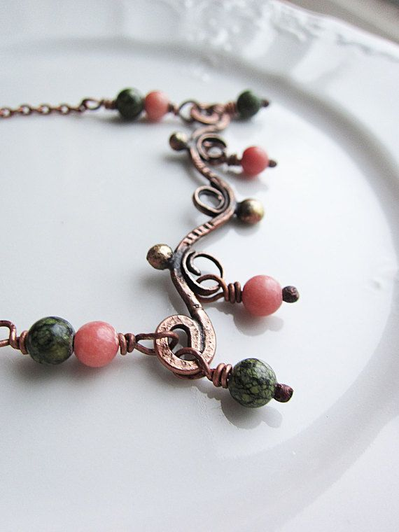 Coral and Serpentine Copper and Brass Long Elegant by MaryBulanova