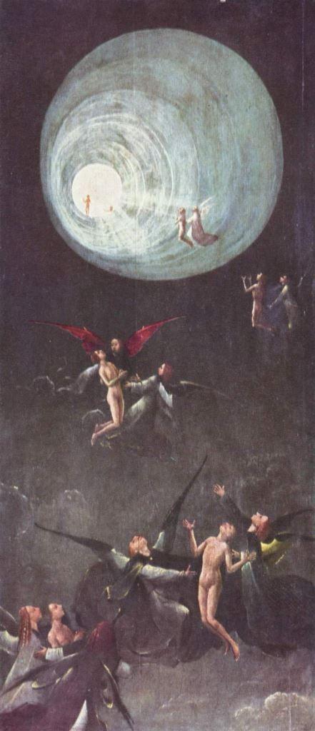 Hieronymus Bosch.  Der Flug zum Himmel. 1500-1504, Öl auf Holz, 87 × 40 cm. Venedig, Dogenpalast. Fragment eines verlorenen Weltgerichtsaltares. Niederlande. Renaissance.  KO 02421
