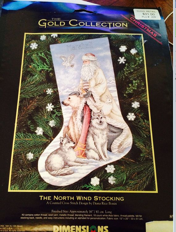 The North Wind Stocking Counted Cross Stitch Kit, Gold Collection, Dimensions by ncknittinchick