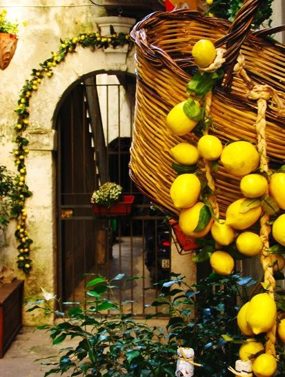#Garden in #Sicily with #lemon and basket typical of countryside