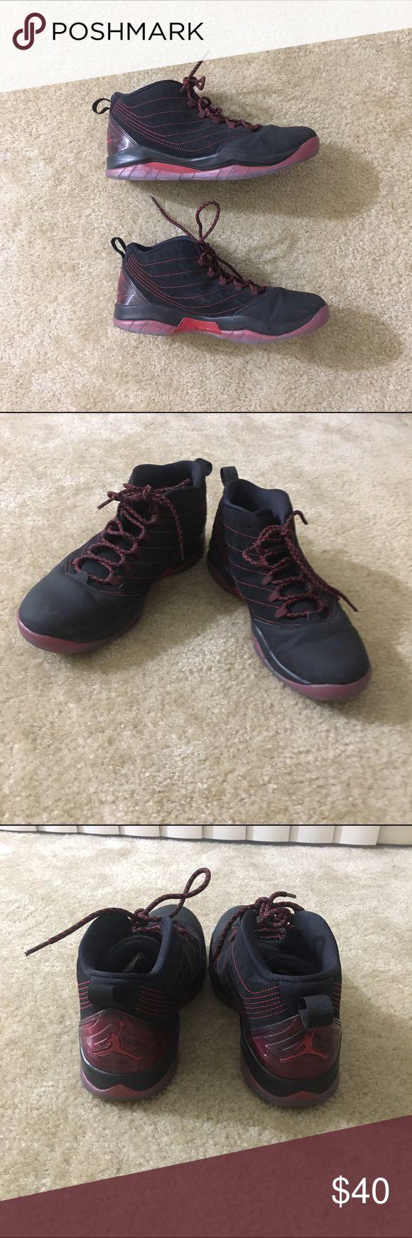 🎉HP🎉Jordan Red and Black Hi Top Sneakers Sz 7Y Jordans Red and Black Hi Top Sneakers Sz 7Y. Preowned with minimal wear. Cute sneakers! Jordan Shoes Sneakers