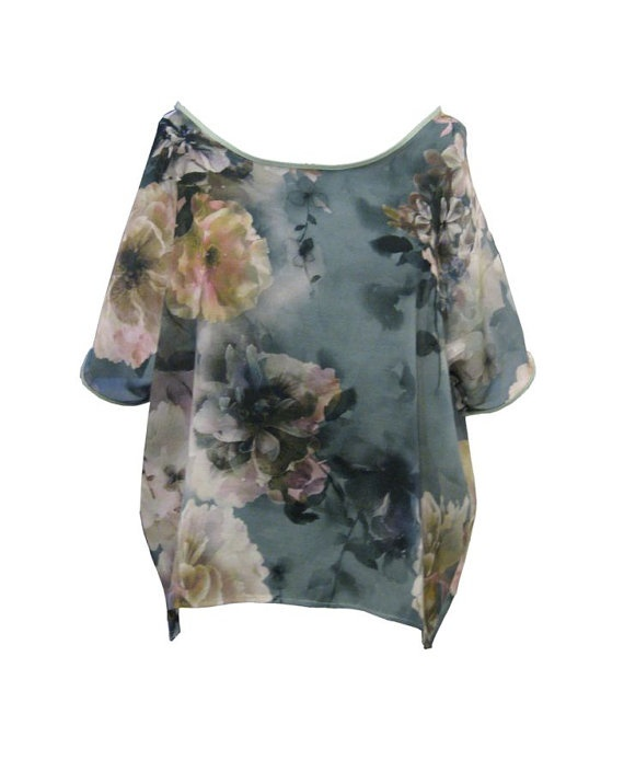 Gray Floral Shirt Flowered Blouse Plus Size Shirt by tamarziv, $75.00