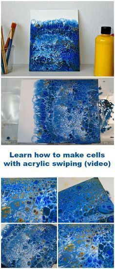 Learn how to make cells with acrylic pouring and swiping video tutorial