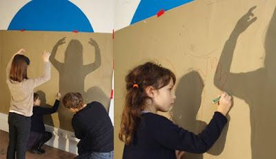 A provocation--a 3D twist on tracing children on paper by using cardboard and finding a way to stand them up.