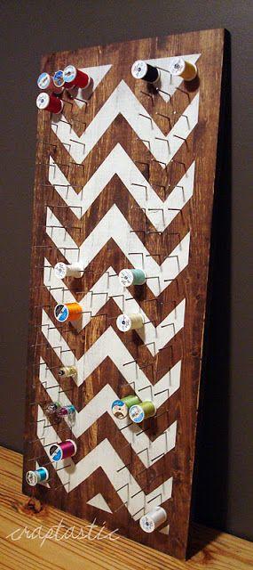 DIY Chevron Thread Spool Holder - For my future crafts room.