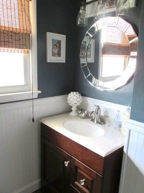 Paint valspar relaxed navy lowes house renovation for Valspar kitchen and bath paint