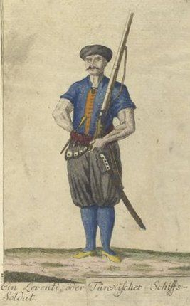 A Leventi, or Turkish marine. Vorstellung der vorzuglichsten Gattungen des Türckischen Militairs und ihrer Officiere (Presentation of the genres of Turkish military men and their officers). Dated 1805