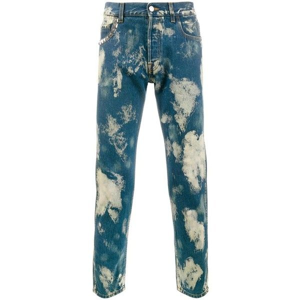 Gucci Gucci Bleached Punk Jeans (€620) ❤ liked on Polyvore featuring men's fashion, men's clothing, men's jeans, blue, blue jeans, bleached jeans, gucci, gucci jeans and punk jeans