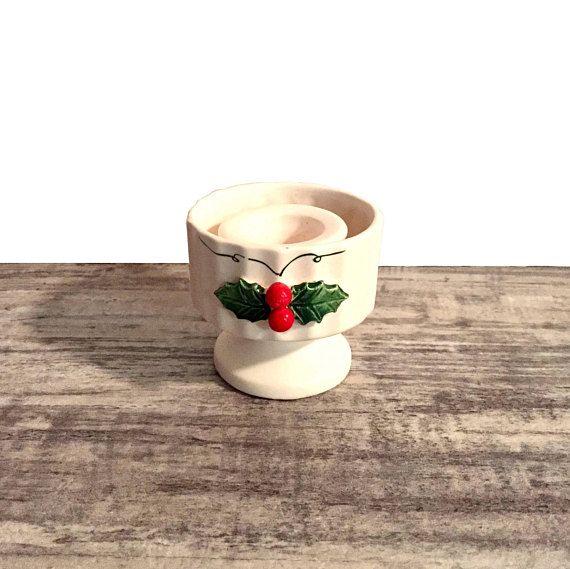 Vintage Holt Howard Candle Holder Holly Berries #1950s #CandleHolder #HoltHoward #hollyberries #Vintage #christmas