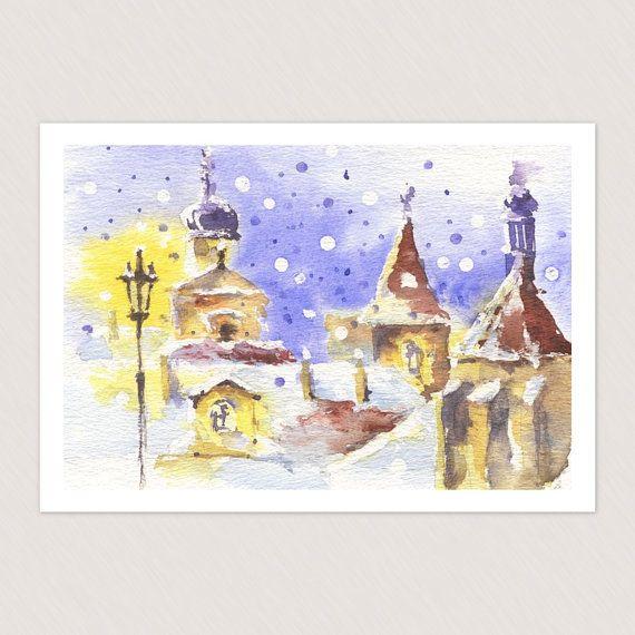 Romantic winter Prague view card - cute Christmas gift, vintage handmade greeting card $4.50 USD   https://www.etsy.com/listing/171331665/romantic-winter-prague-view-card-cute?ref=shop_home_active