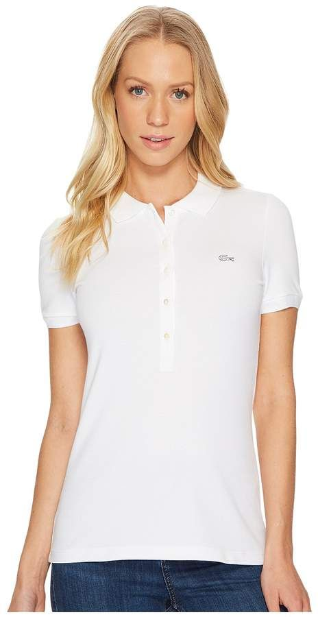 d10fc9666ab7 Lacoste Short Sleeve Slim Fit Stretch Pique Polo Shirt Women s Clothing  Fashion