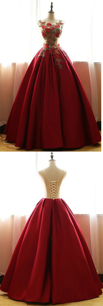 Red Quinceanera Dresses,Satin Prom Dresses With Flowers,Ball Gown Prom Dresses,Rose Applique Prom Gown,A-line Evening Dress,long prom dresses