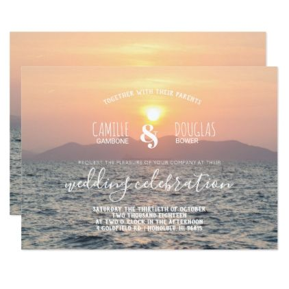 Romantic Sunset Beach Wedding Invitation - romantic wedding love couple marriage wedding preparations