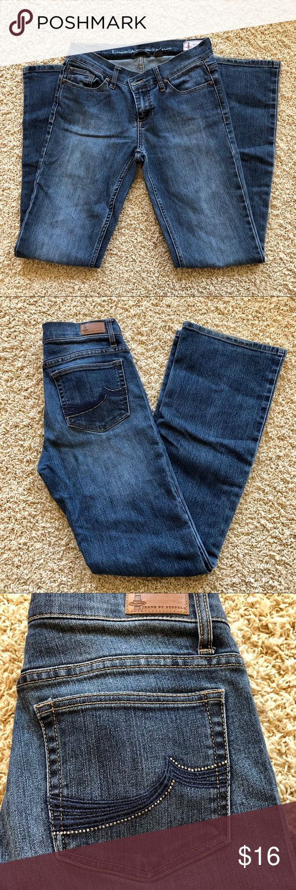 "Land is Bootcut Buffalo Jeans w/embellishment I by Buffalo Landis Bootcut Jeans. Jeans feature a crystal embellishment on back pockets.   Size 27 (4) x 33""  Worn a few times, great condition. i jeans by Buffalo Jeans Boot Cut"