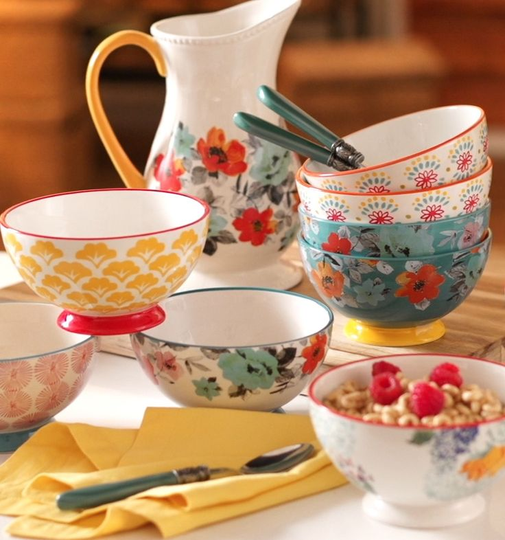 Serve up something beautiful! You'll love these fun and stylish and sturdy ceramic bowl sets from Ree Drummond's new Pioneer Woman collection, exclusively at Walmart. Perfect for mixing and matching, these bowls sturdy enough for everyday use and are dishwasher-safe and microwave-safe. See Ree's full collection of affordable cookware and tableware at Walmart.com/thepioneerwoman and in your store.