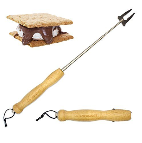 Wealers Marshmallow Roasting Sticks Telescoping Smores Skewers  Hot Dog Forks Patio Fire Pit Accessories Camping Cookware Campfire Cooking Kids Single Pack  -- Want additional info? Click on the image.