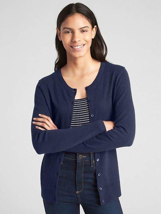71a810c899b Gap Womens Slim Crewneck Cardigan Sweater Dark Night
