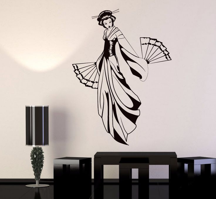 Vinyl Wall Decal Geisha With Fan Japanese Girl Asian Style Stickers (1128Ig)