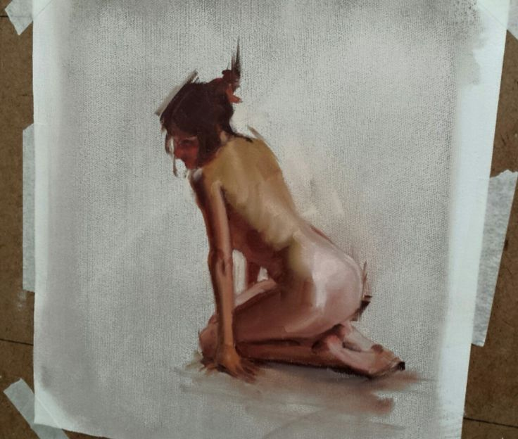 Study of a woman based on a photo reference. Oil on board.