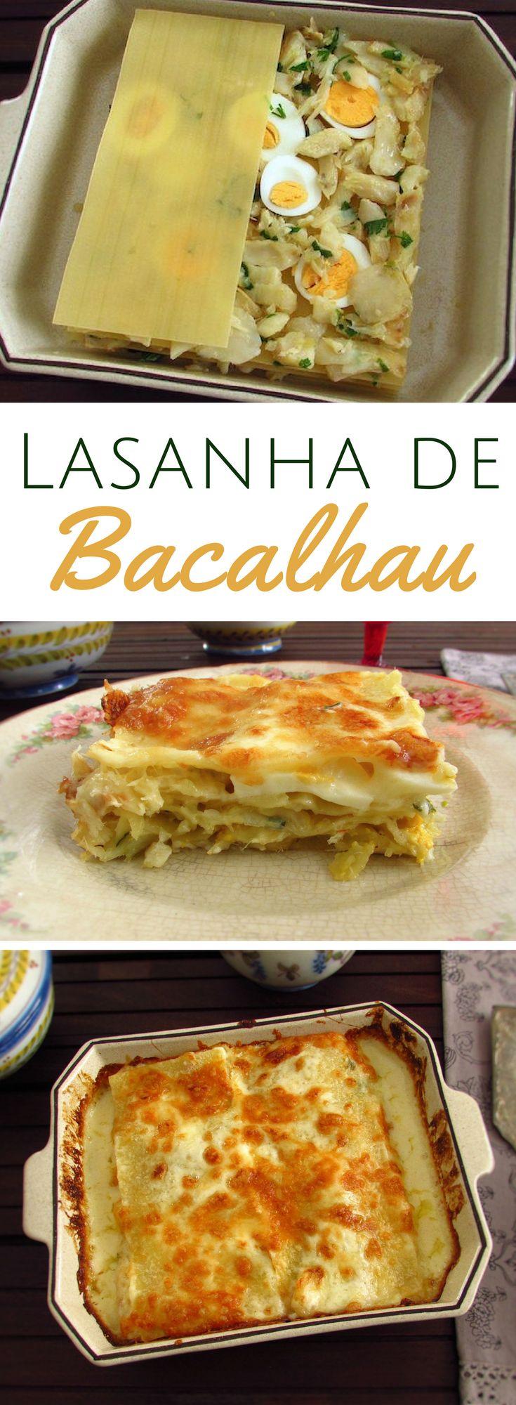 Lasanha de bacalhau | Food From Portugal. Sirva esta deliciosa receita de lasanha de bacalhau aos seus amigos! É diferente, muito saborosa e eles vão adorar e querer repetir… #receita #bacalhau #lasanha