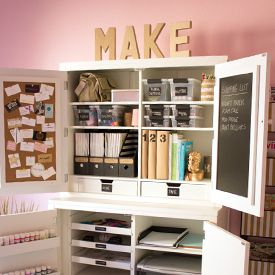 Check out this chic, pink (!) home office / craft room with black, white, gold accents and lots of DIY touches!