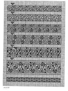 Borders or multi functional craft pattern use for: cross stitch chart or cross stitch pattern, crochet pattern, knitting, knotting pattern, beading pattern, weaving and tapestry design, pixel art, micro macrame, friendship bracelets, and other crafting projects.