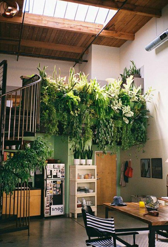 aménagement sous escalier, cuisine moderne avec plantes vertes, escalier rangement