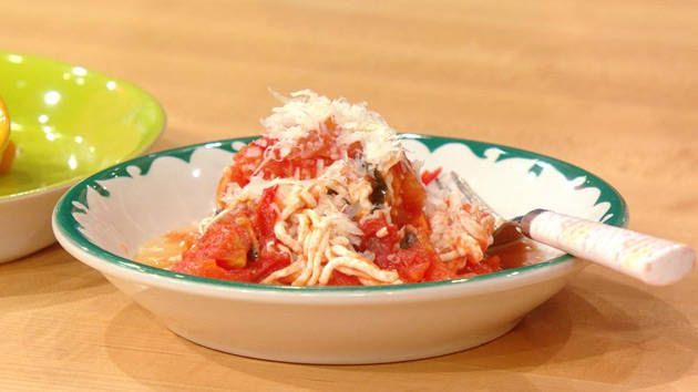 Pasta made from chicken meat   Rocco DiSpirito's Pasta al Pomodoro