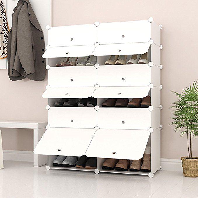 Joiscope Megafuture Portable Shoe Storage Organzier Tower Modular Cabinet Shelving For E Saving Rack Shelves Shoes Boots Slippers 2 X