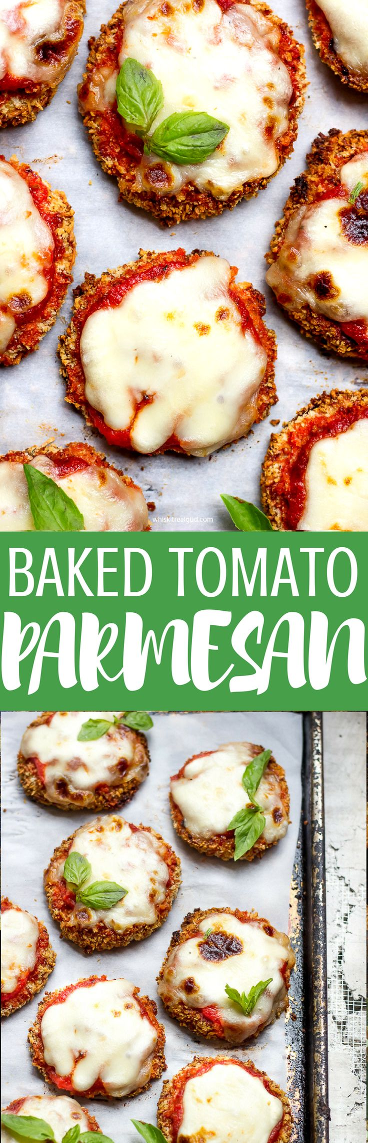 Baked tomato Parmesan. Crunchy Parmesan panko bread crumbs, melted Parmesan cheese and tomato sauce. What can be better than that?