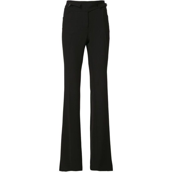 Barbara Bui Side Buckle Flared Trousers ($558) ❤ liked on Polyvore featuring pants, black, black flared pants, black pants, flared pants, barbara bui and black flare pants