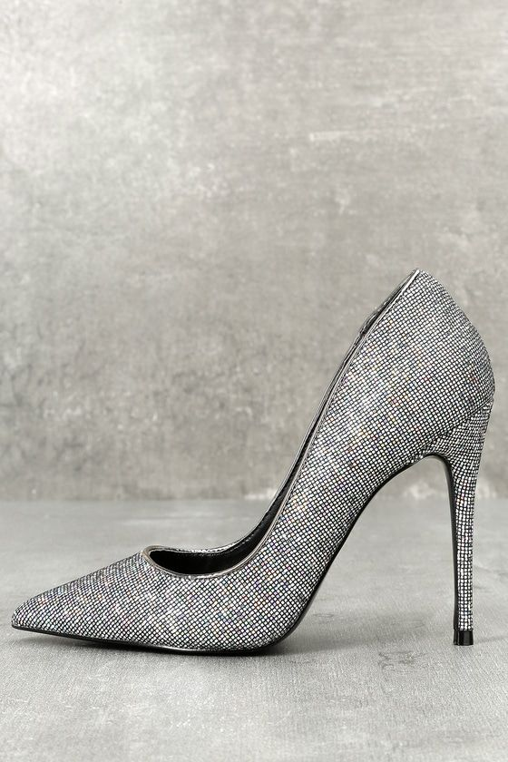 613258b165d Steal the show with the Steve Madden Daisie Black Multi Glitter Pumps!  Iridescent