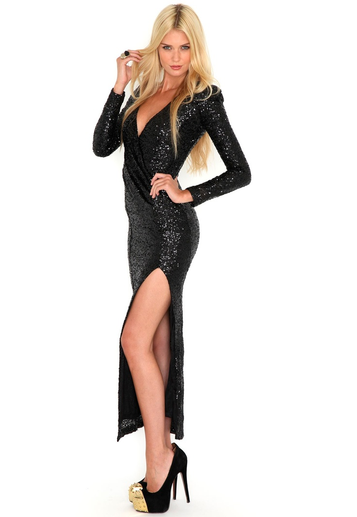 Laurette Premium Sequin Maxi Dress In Black- The most glamorous Winter evening dress I've ever seen! #MGWinterWardrobe