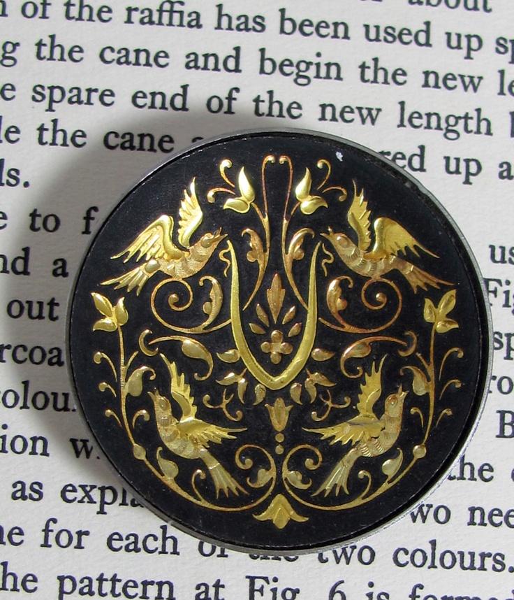 Spanish Damascene Dish, Vintage Toledo Spain Gold on Steel Renaissance Engraved Bird Pattern Miniature Damascene Dish