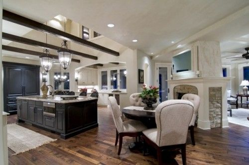 wow.: Cabinets, Idea, Kitchens Design, Expo Beams, Open Spaces, Traditional Kitchens, Fireplaces, Open Floors Plans, Open Kitchens