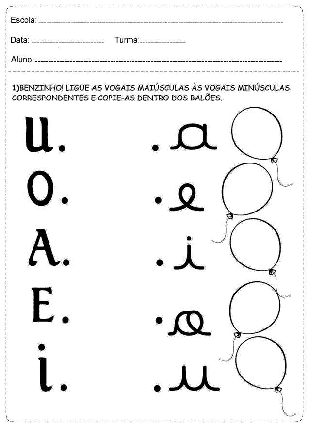 Atividades para ligar o A, E, I, O, U