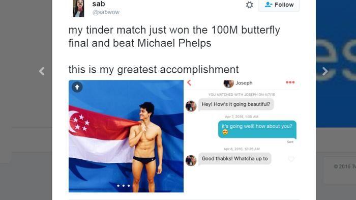 Olimpiade Rio 2016 - Dulu Cuekin Joseph Schooling Di Tinder, Sekarang Cewek Ini Menyesal Banget