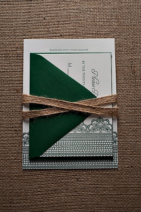Rustic Kraft Wedding Invitation, Green Invitation