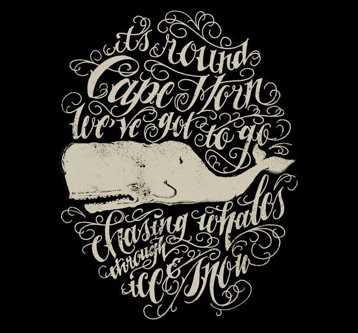 Moby: Hand, Lettering, Illustration, Beautiful, Type, Typography, Script, Whales Poster