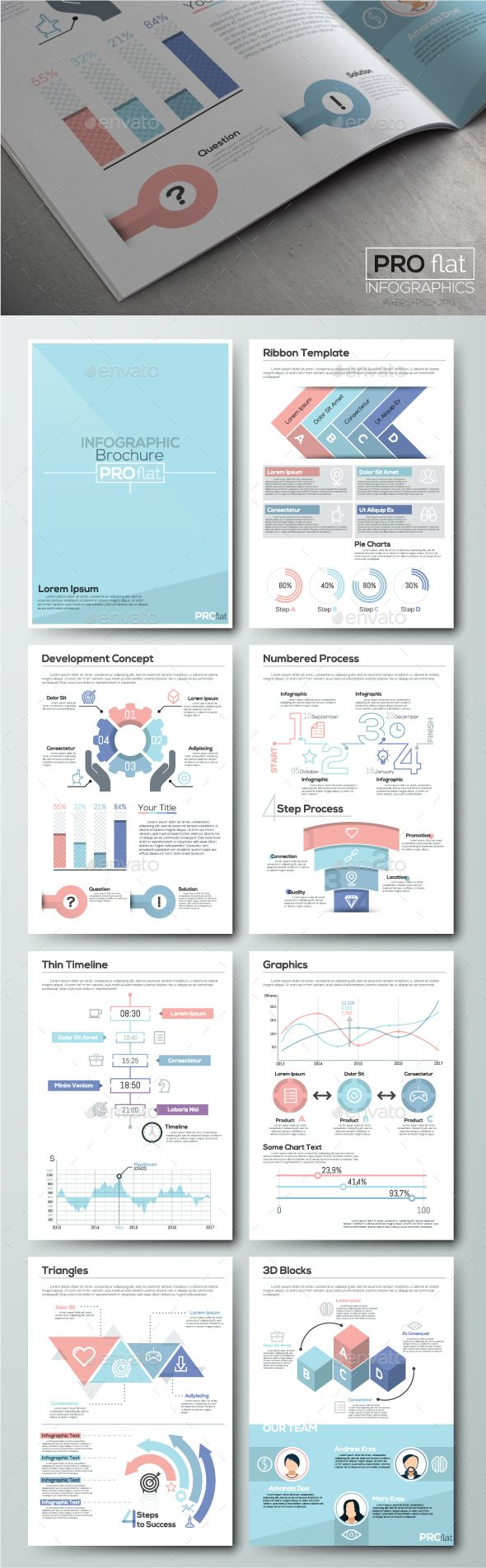 Pro Flat Infographic Brochure Template PSD, Vector EPS, AI Illustrator. Download here: http://graphicriver.net/item/pro-flat-infographic-brochure-set-6/16414059?ref=ksioks