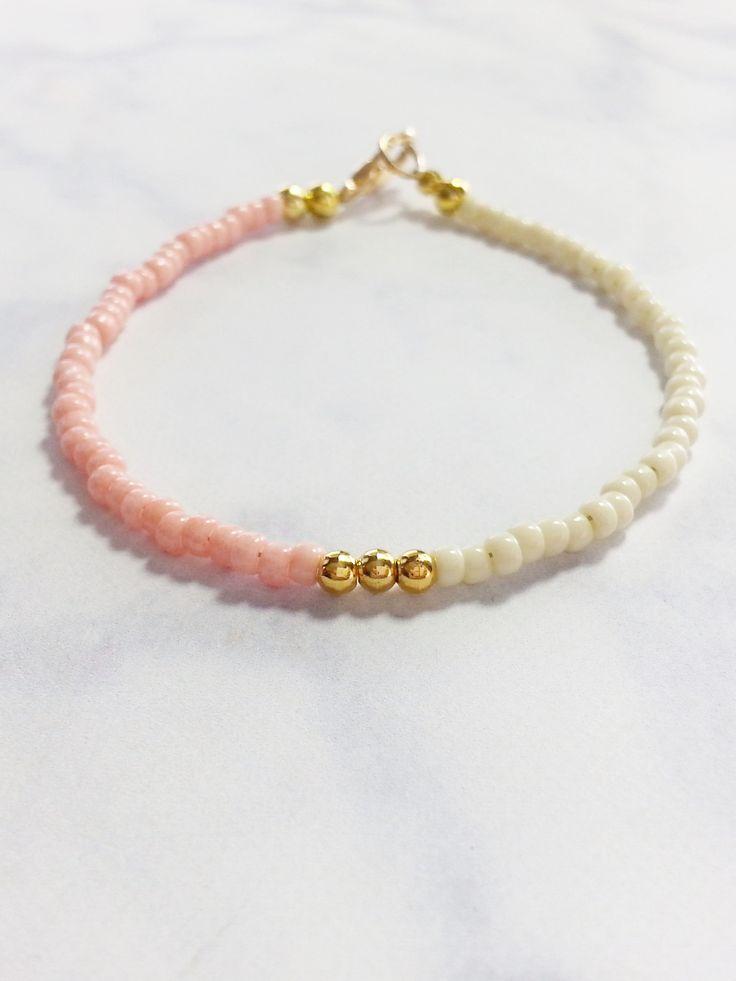 Pink Beige Gold Friendship Bracelet, Beaded Bracelet