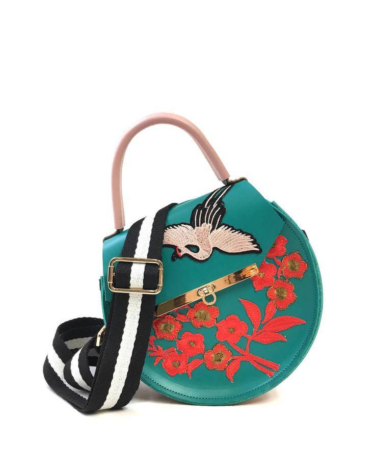 Loel Mini Embroidered Floral Crane Bag Fall / Winter 2017 Fashion Handbag  By Angela Valentine $220